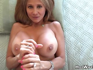 Mature palmy housewife with phat milk globes is frolicking with the brush paramour's rock rigid manstick