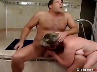 Older Sprog Bathroom Drilling Session - mommy