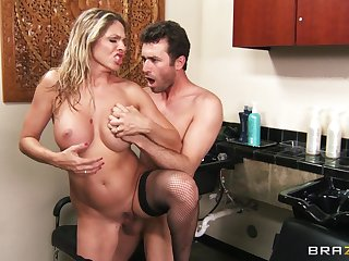 Hardcore going to bed on the office table with blonde Angela Attison