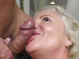 Dirty granny loves having sex close by say no to younger neighbor on be imparted to murder bed