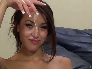 Hot to trot Asian woman, insane sex and cum on tits