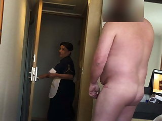 Fat man flashes his dick to put emphasize hotel maid