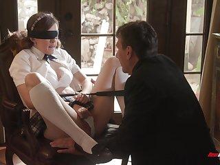 Biddable schoolgirl Devon Callow does as her expert lover desires