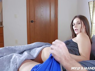 A MILF getting poked by her BF's boner increased by he really seems to want sex