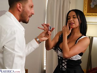 Busty MILF dressed in a sexy French maid outfit has sex round her boss