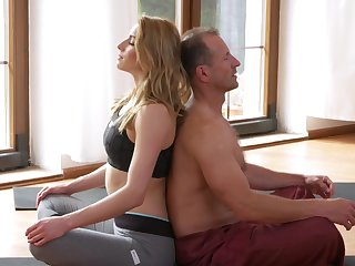 Impassioned blonde woman enjoys the dick during the yoga class