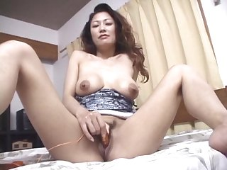 Gentle fucking on the bed with hairy pussy wife Marie Sugimoto