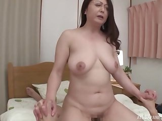 Japanese mature wife with glasses gives head and rides in cowgirl