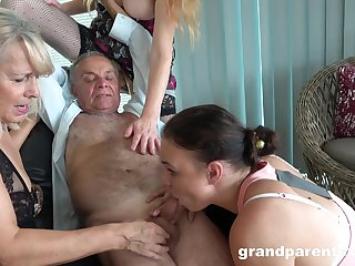 Old man takes his killjoy together with fucks rub-down the slutty mature in crazy action