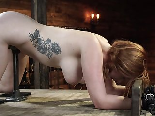 Redhead slavegirl is appliance fucked and flogged while being tied up