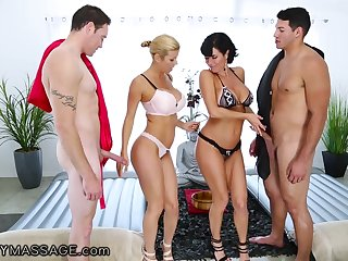 Cougar masseuses Alexis Fawx increased at the end of one's tether Veronica Avluv are fucked at the end of one's tether two horny men
