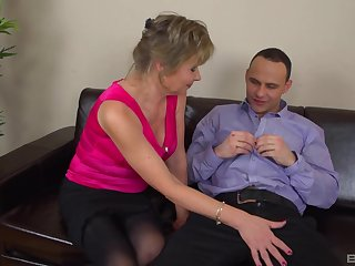 Dirty mature Monika drops her clothes to ride a younger coxcomb