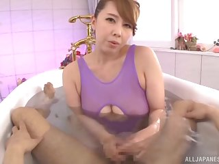 Japanese mommy knows some handsome hot tricks with her soft hands
