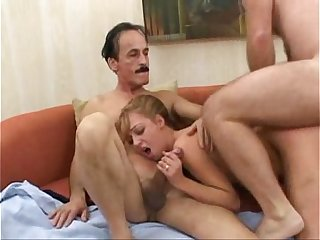 Hot Young Teen Girl Fucks For Two Old Guys  With Big Cock