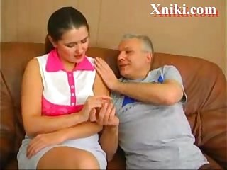 Old person fucks several young russian girls - Xniki.com