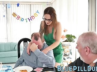 Old man fucks a seductive young babe for his sumptuously