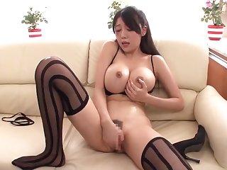 Hot buxomy oriental mom Miho Ichiki in amazing fingering porn performance