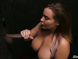 Ardent French nympho Natasha Nice uses glory hole BBC be incumbent on polishing her cunt
