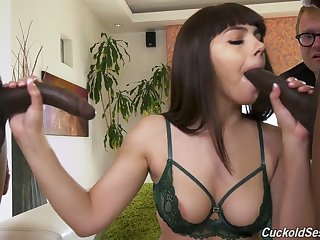 Nerdy white cuckold just watches Valentina Nappi working on strong BBCs