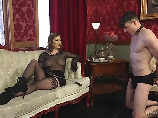Sex-starved mistress Cerise Patched is having it away submissive  guy and enjoys face sitting