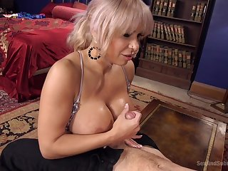 Helpless blonde milf Alyssa Lynn with a ball with tongue in cheek gets fucked