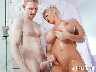 Blonde pornstar Alura Jenson alongside massive fake hooters fucked