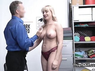 Stealing MILF busted and punished by piping hot guard