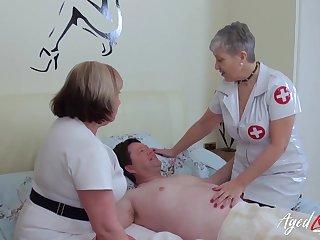 BBW nurses help their patient with his sexual needs