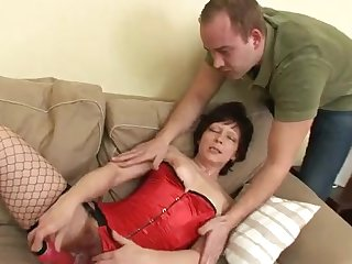 Naughty Granny Gets The brush Hairy Twat Protuberance