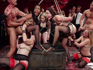 Upper floor orgy gone wild with the ladies running slutty