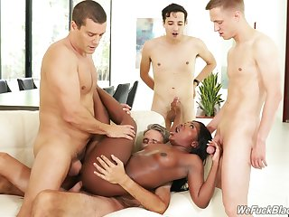 Slutty perfidious girl Noemie Bilas fucked by a slew for white dudes
